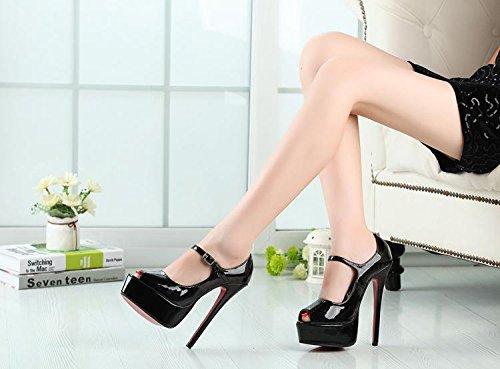 HeiSiMei Sandales pour femmes / Sexy / talon aiguille talon / Poissons bouche chaussures / épais imperméable plateforme / Soirée & Soirée / Nightclub / Boucle / Hommes / Unisexe BLACK-EU44