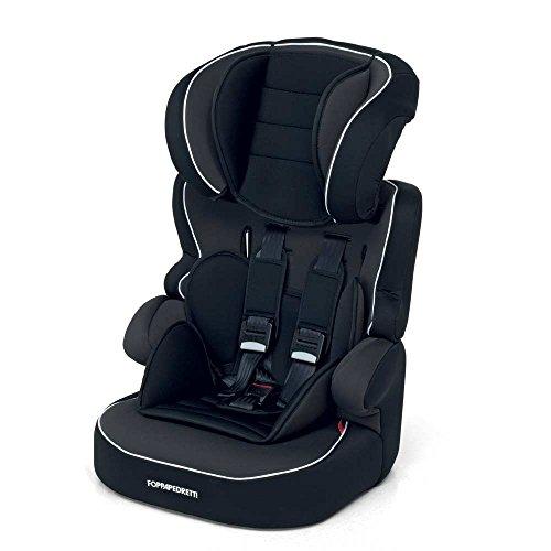 Foppapedretti babyroad - seggiolino auto, senza isofix, gruppo 1-2-3 (9-36 kg) per bambini da 9 mesi a 12 anni circa, nero