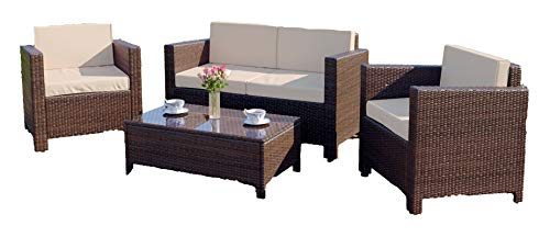 Abreo Garden Rattan Furniture Patio Set 4 Seater Outdoor Conservatory Sofa Armchair Coffee Table Roma New (Brown) INCLUDES OUTDOOR COVER