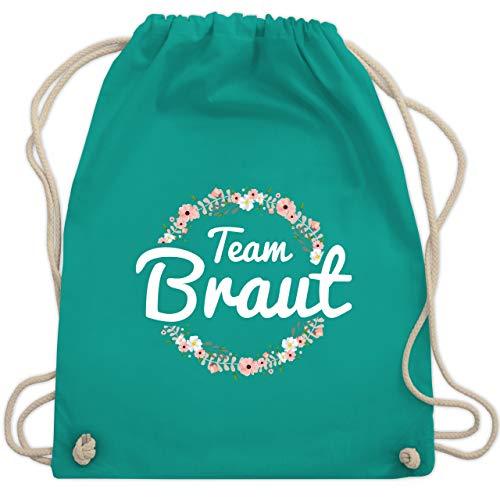 JGA Junggesellinnenabschied - Team Braut Blumenkranz - Unisize - Türkis - WM110 - Turnbeutel & Gym Bag (Bachelorette Accessoires Für Die Braut)