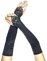 PANAX Schicke Extra Lange Damen Handschuhe aus elastischem Satin - Stulpen in Einheitsgröße für Frauen, Hochzeiten, Opern, Bälle, Fasching, Karneval, Verkleidungen, Halloween…