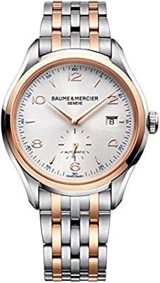 New Mens Baume & Mercier Clifton 18K Rose Gold & Steel Automatic Watch 10140