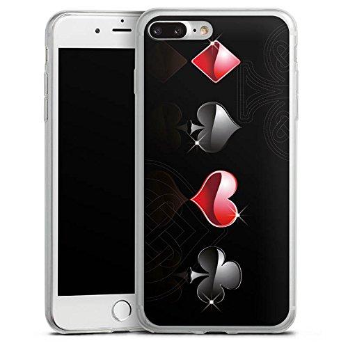 Apple iPhone 8 Plus Slim Case Silikon Hülle Schutzhülle Herz Kreuz Karo Silikon Slim Case transparent