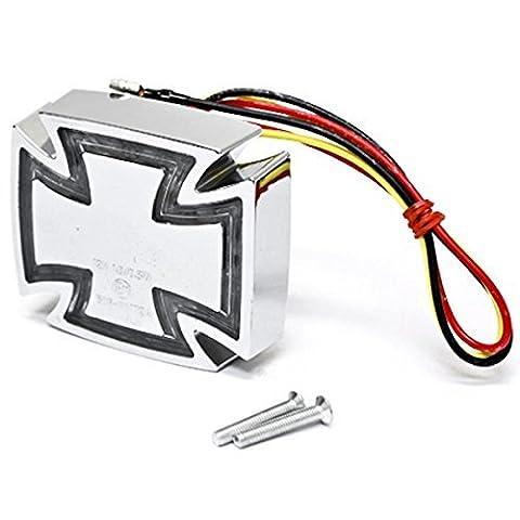 Custom Motorrad Eisernes Kreuz LED Rücklicht mit integriertem Bremslicht universal Custom Fit Malteser Rücklicht–passt zu jedem Motorrad Bike, Harley, oder Chopper, Harley Davidson, Suzuki, Honda, Kawasaki Cruiser und Sport Fahrräder