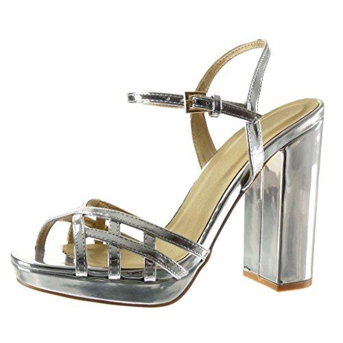 Angkorly Damen Schuhe Sandalen - Plateauschuhe - String Tanga - Multi-Zaum - Schleife Blockabsatz High Heel 12 cm - Silber JM-85 T 38 (Silber-multi-schuhe)