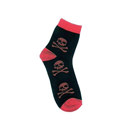 Unisex Mini Socken Totenkopf Rot - Pirat Kurzschaft Sneaker Socken Einheitsgröße