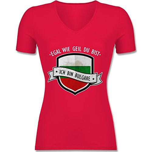 Länder - Egal wie Geil Du BIST - Ich Bin Bulgare - Tailliertes T-Shirt mit V-Ausschnitt für Frauen Rot