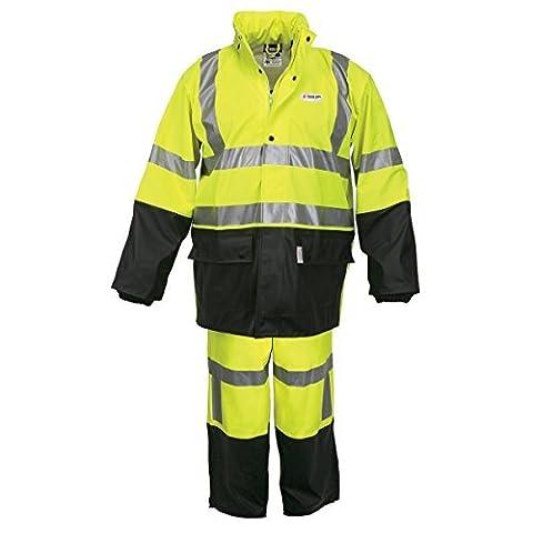 Lg Lime & Black Luminator .40 mm Class 3 Flame Retardant 2 Piece Rain Suit by River City Rainwear