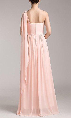 robe de soirée rose cendrée longue asymétrique rose cendrée