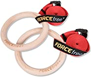 Forcefree+ Wood Gymnastic Rings - Olympic Gym Rings with Adjustable Straps, Heavy Duty Gym Equipment for Home Gym, Train Wor