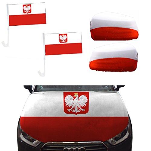 Sonia Originelli Fan-Paket-10-XL Auto WM Länder Fußball Flaggen Motorhaube Farbe Polen mit Wappen