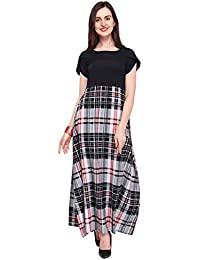 7abb23253747 Shivam Creation Petal Sleeves Type Black Color Printed Maxi Dress for  Women's