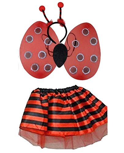 Für Erwachsene Bumble Bee Kostüm - Islander Fashions Kinder M�dchen Lady Bird Bumble Bee Tutu Rock Wings Bopper Set Buchwoche Tag Outfit (Ladybird Set) One Size