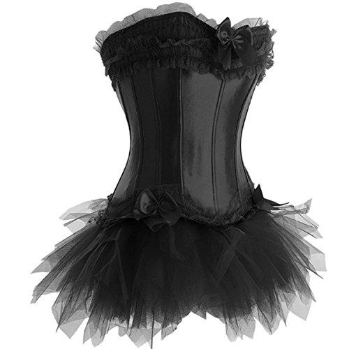 Corsage Kleid Mini Rock Petticoat A869Schwarz