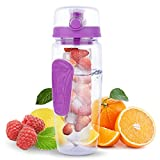 Yishik 2 in 1 Fruit Infuser Water Bottle Large 32oz Featuring a Full