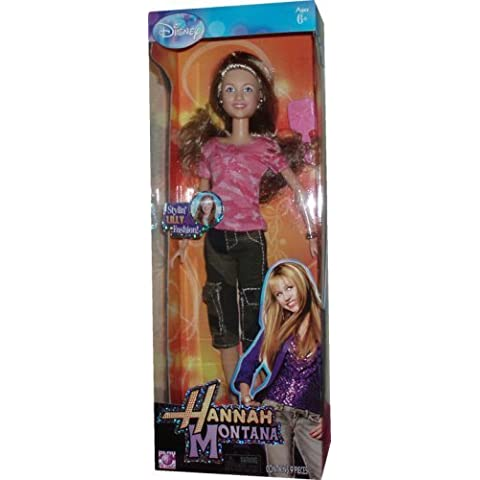 Disney Hannah Montana and Friends 12 Inch Stylin' Fashion Doll - Lilly in Camo Pink Shirt and Camo Green Capri Pants with High Heel Sandals, Bracelet, Pair of Earrings and Hairbrush by Hannah Montana