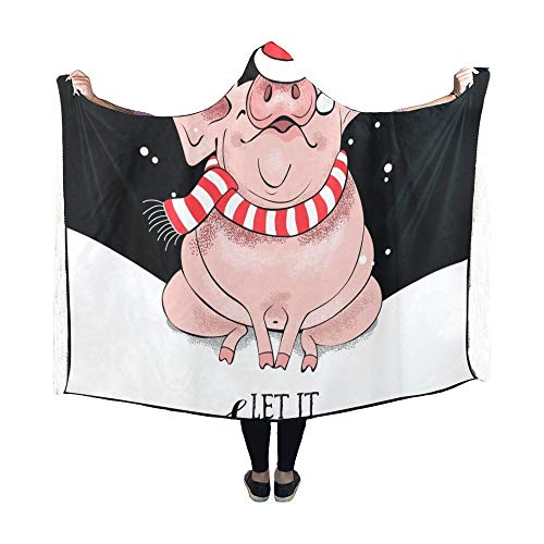 King Pig Kostüm - JOCHUAN Decke mit Kapuze Cute Pig Santas Red Cap gestreifte Decke 60 x 50 Zoll Comfotable Hooded Throw Wrap