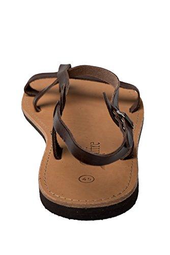 Sandali Premium di vera pelle con cinghiette fatti a mano dalla Grecia di colore nero beige marrone Dimensione 36 - 47 Marrone