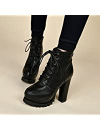 SDKIR-Botas con tacón alto grueso impermeable invierno coreano Lace Martin  botas fashionista botas zapatos 31e1bd7b8d05