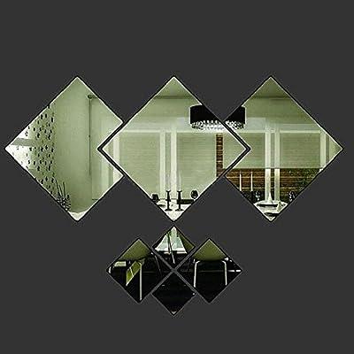 RONGXINUK Mirror Wall Sticker Art Mural Wall Sticker Home Decor Rhombus Cool Random Color