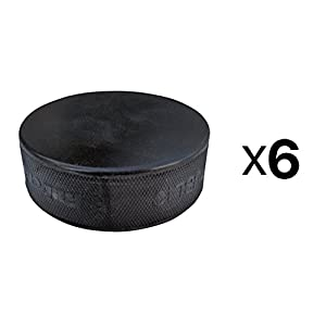 A&R Ice Hockey Vulcanized Lightweight Black Rubber Hockey Puck Practice (6-Pack)