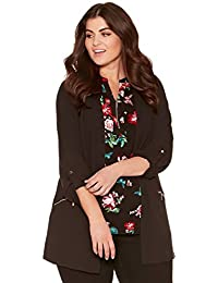 M&Co Ladies Plus Size Tabbed Three Quarter Length Sleeve Open Edge to Edge Zip Pocket Jacket