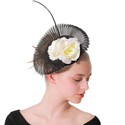 KANGJIABAOBAO Mini-Tophat, Fascinators Hat Flower Mesh Bänder auf einem Stirnband Cocktail Tea Party Headwear für Mädchen Zylinder (Color : Black, Size : Free Size) (Trio Kostüm Lustig)