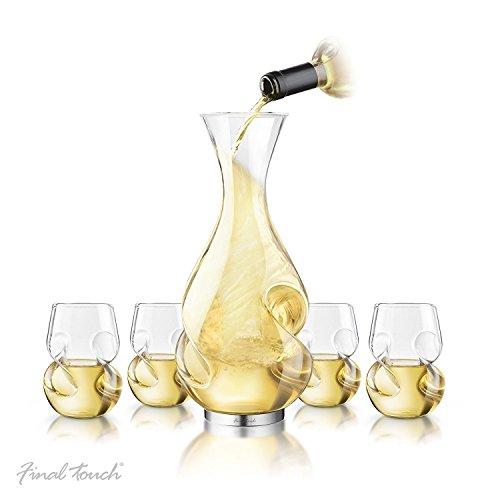 Final Touch Conundrum WHITE WINE Drinking SET Carafe à Vin Blanc DECANTER Serving Set Aérateur de vin & DÉCANTEUR Ensemble de service Verres à vin blanc 266ml - Boxed Set exclusif