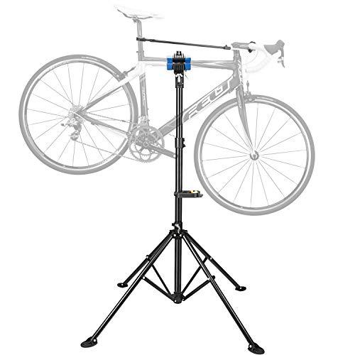 Luxebell Fahrrad Montageständer mit magnetischer WerkzeugAblage für alle Fahrradtypen, bis 30 KG belastbar, höhenverstellbarer Reparaturständer ca. 110-180 cm, Schwarz