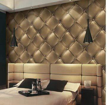 stleder Tapeten Wohnkultur 3D Weiche Wrap Wasserdichte PVC Tapetenbahn für Wohnzimmer Wände vinilo pared, Gold Gelb, 5,3㎡ ()