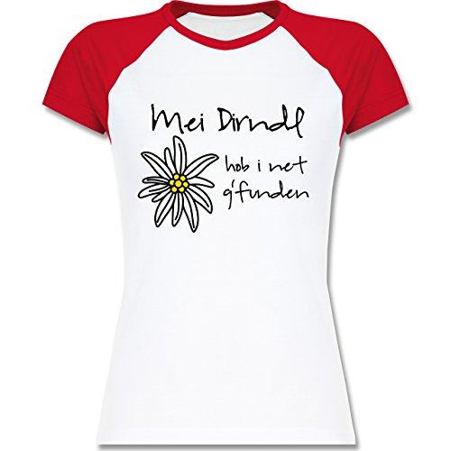 Oktoberfest Damen - Dirndl net g'funden - Shirt statt Dirndl - zweifarbiges Baseballshirt / Raglan T-Shirt für Damen Weiß/Rot