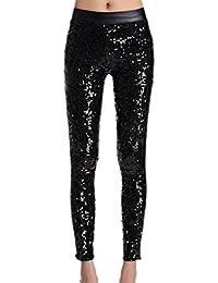 La Mujer Lentejuelas Patchwork De Imitacion De Cuero Elástico Skinny  Pantalones Leggings 4f624a0537ca