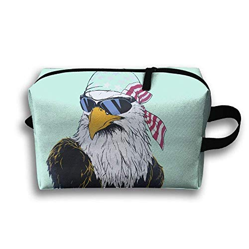 Portable Travel Toiletry Pouch Travel Bag Toiletry Bag Buggy Bag Us Bald Eagle Sunglasses Clutch Bag with Zipper