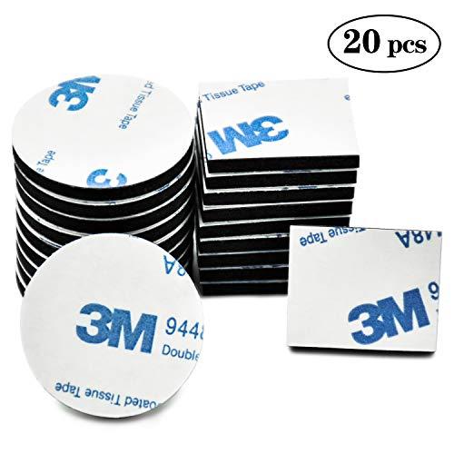 FEIGO 3M Doppelseitig Schaumstoff-Pads, 20 PCS doppelt selbstklebend Schaumstoff Pads starke Montage-Klebeband, quadratisch und rund -
