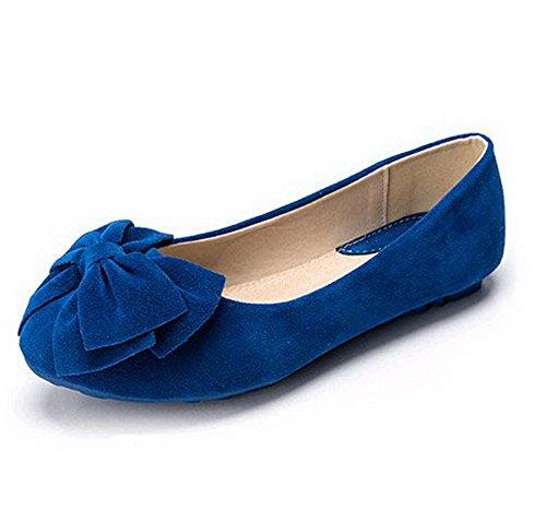 AalarDom Damen Ziehen Auf Rund Zehe Ohne Absatz Rein Flache Schuhe Blau-Mattglasbirne