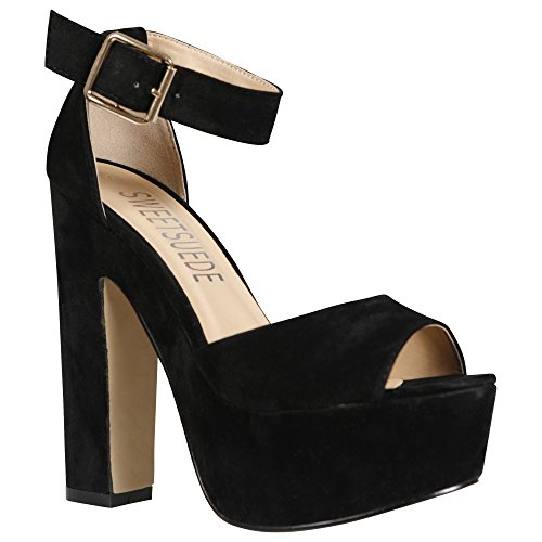 NEW WOMENS LADIES ANKLE STRAP PLATFORM CHUNKY HIGH HEEL SANDALS SHOES SIZE 3-8