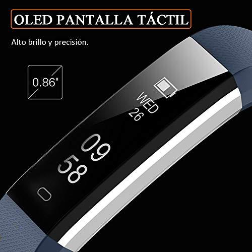Imagen de pulsera de actividad inteligente, sumergible reloj deportivo ip67 smartwatches cómodo con pantalla táctil longitud ajustable para hombres y mujeres azul  alternativa