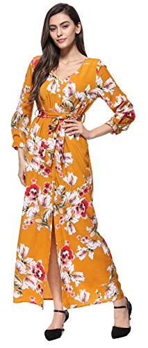 Damen Langarm V-Ausschnitt Floral Print Wrap Maxi Langes Kleid Vintage Split Boho Gürtel Seil Cocktailkleid Gelb S Floral Print Maxi-kleid
