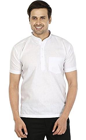 Mens Short Sleeve Short Kurta Cotton India Fashion Clothes (White, L)