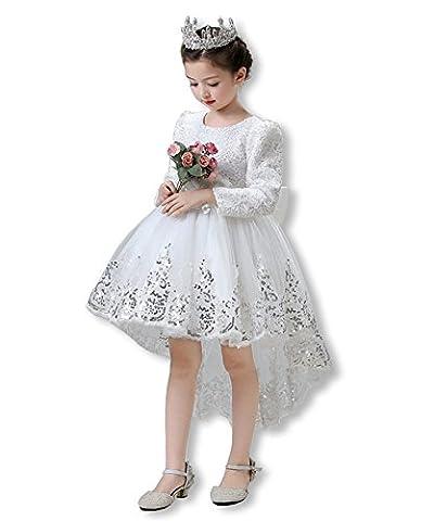 Mädchen Kleider Hochzeit Brautjungfer Chiffon Festliches Festzug Reines Weiß Bankett Party Prinzessin Märchen Dress