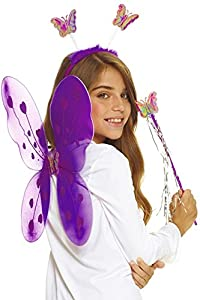 AEC-set mariposa disfraz, unisex infantil, aq05624, color morado, talla única