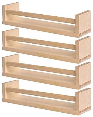 IKEA 4 Wooden Spice Rack - Nursery - Book Holder - Kids Shelf - Kitchen - Bathroom Accessory - Storage Organizer - Birch Natural Wood - BEKVAM from Ikea