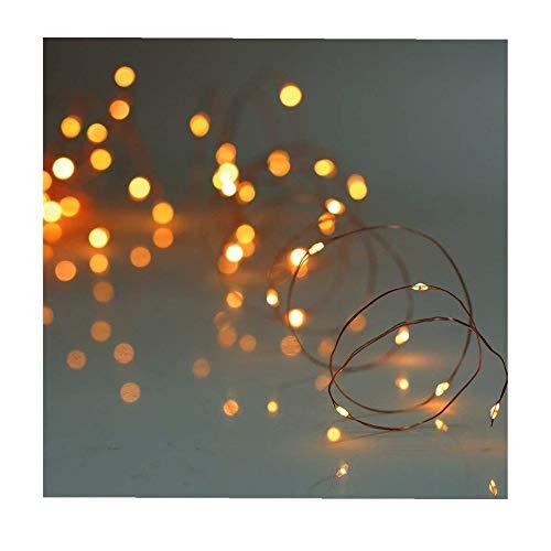 ODJOY-FAN 6 Stück 2m 20LED Dekoration Licht, Farbe Beleuchtung Zeichenfolge Batterie Sternenklar Kupfer Draht Dekor Lichter Weihnachten Dekorativ Licht String Lights (Gelb,6 PC)