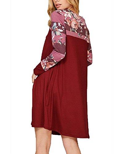 BIUBIU Damen Langarm Casual Blumen T-Shirt Kleid Mit Tasche Rot