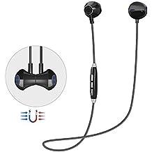 Auricular Manos Libres Bluetooth V4.1 Grandbeing Magnético Auriculares Deportivos con Cancelación de Ruido avanzado y Sweatproof IPX4 Incorporado Micrófono para iPhone y Otros Android Smartphones(Negro)
