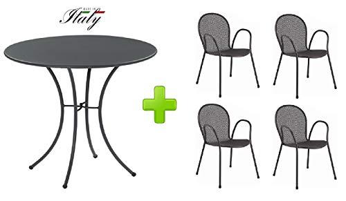 Emu Table pour extérieur Pigalle Kiss diamètre 80 cm + 4 Fauteuil Ronda - en Fer zingué et Verni à poussières - Couleur Fer Ancien Fantaisie 22 - Produit fabriqué en Italie