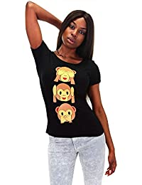DSguided Shirt mit Emoji Affe Smiley Icon Äffchen Print T-Shirt Bluse