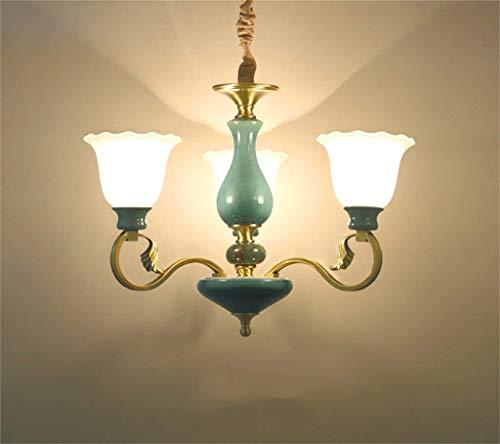 Wcp lampadario di illuminazione in stile europeo salone di lusso di rame lampadario lampada di ceramica moderna, semplice ristorante le camere lampadario francese lampadario in vetro