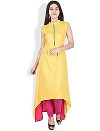 CRAZORA Women's Rayon Sleeveless Mandarin/Chinese Collar Solid Asymmetric Kurti