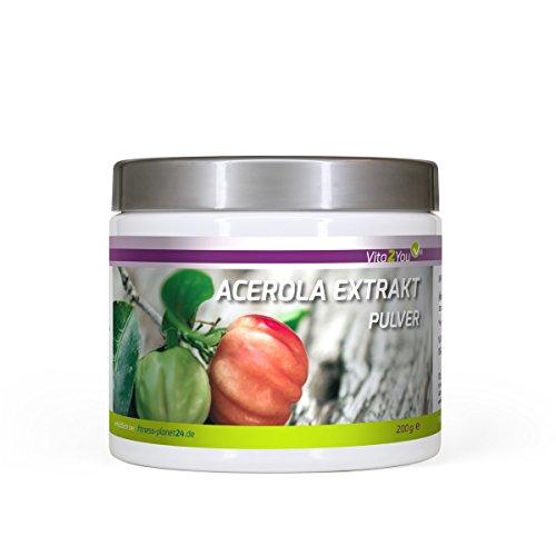 Vitamin C Acerola Pulver Extrakt - 200g - Natürliches Vitamin C - Hochdosiert mit 25% Vitamin C - Premium Qualität - Made in Germany